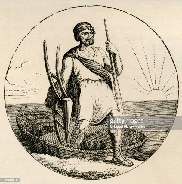 Ancient Briton With Coracle And Plow From The World's Inhabitants By GT Bettany Published 1888