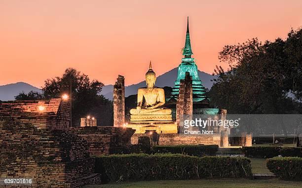 Ancient Buddha Statue at Sukhothai historical park, Mahathat Temple ,Thailand