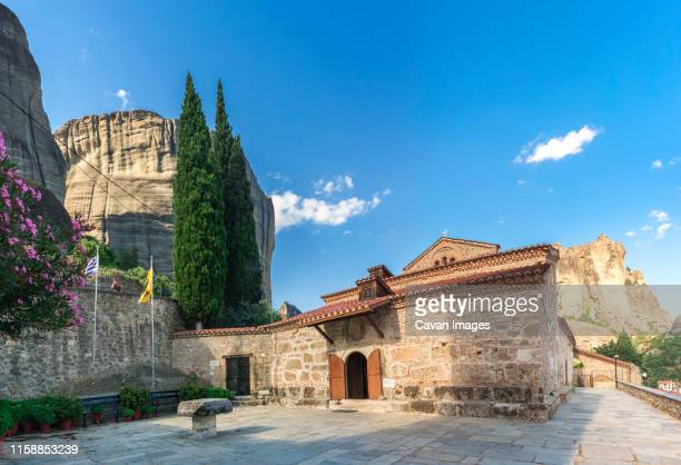 ancient byzantine church in meteora, greece - thessaly stock pictures, royalty-free photos & images