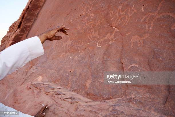 ancient camel and other petroglyphs in wadi rum (the valley of the moon), a protected desert wilderness in jordan - history stock pictures, royalty-free photos & images