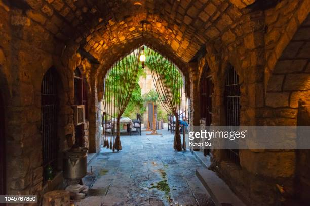 ancient caravanserai in the inner city of baku, azerbaijan - baku stock pictures, royalty-free photos & images
