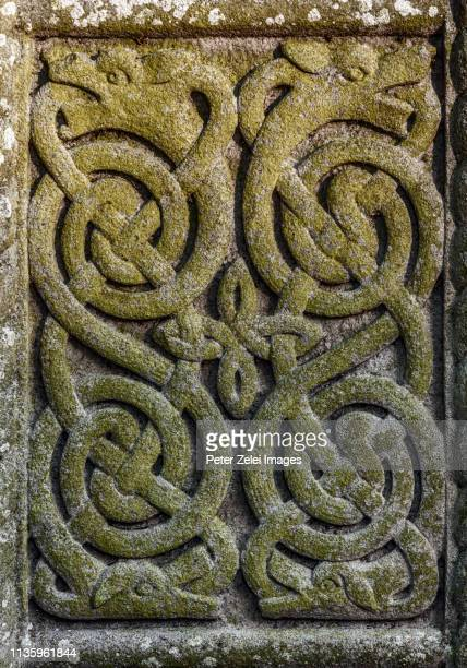 Ancient celtic relief of snakes or dragons, Ireland
