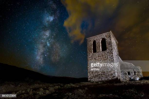 Ancient church and Milky Way.