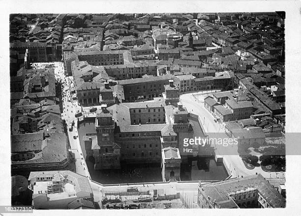Ancient city of Ferrara Italy from the air 1955