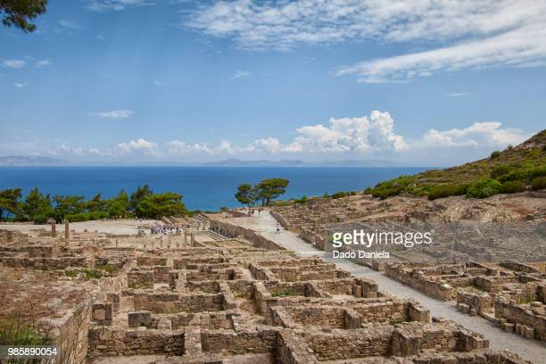 ancient city of kameiros - rhodes dodecanese islands stock photos and pictures