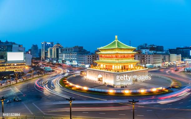 ancient city of xian in nightfall