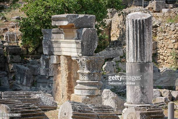 ancient column in olympia, greece - column stock pictures, royalty-free photos & images