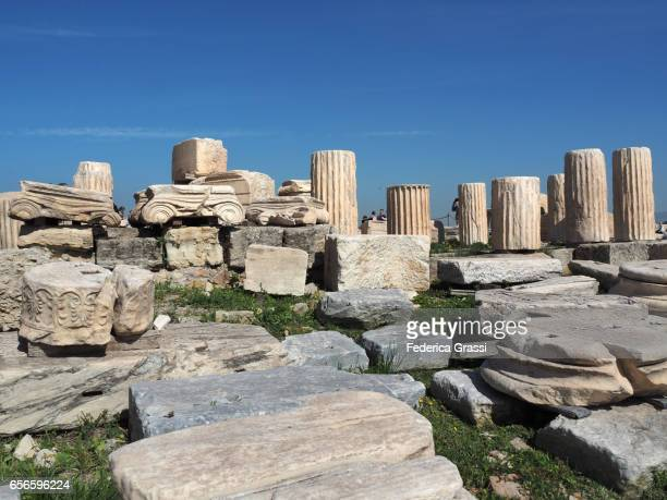 Ancient Columns and Capitals at the Acropolis of Athens