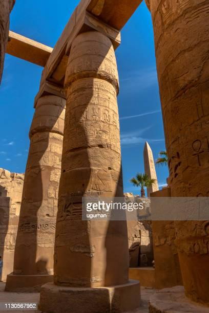 antiguas columnas del templo de luxor en luxor. egipto - karnak fotografías e imágenes de stock