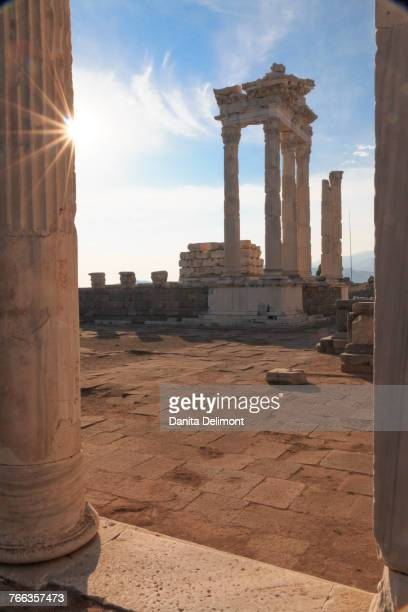 Ancient cultural center, Temple of Trajan on acropolis, UNESCO Heritage site, Pergamon, Bergama, Izmir Province, Turkey