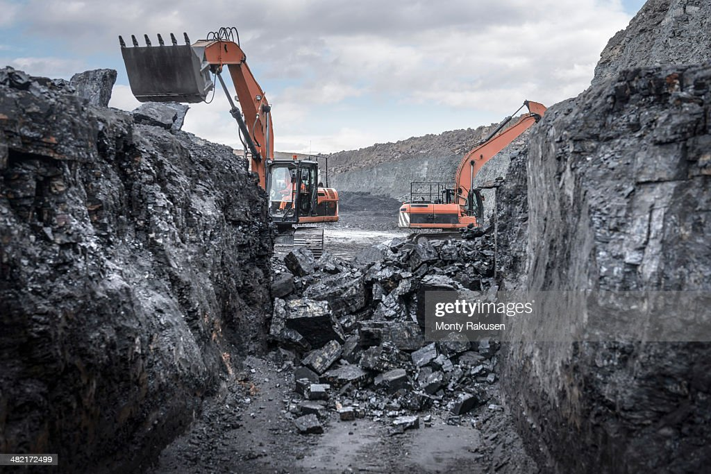 Ancient deep coal workings in surface coal mine : Stock Photo