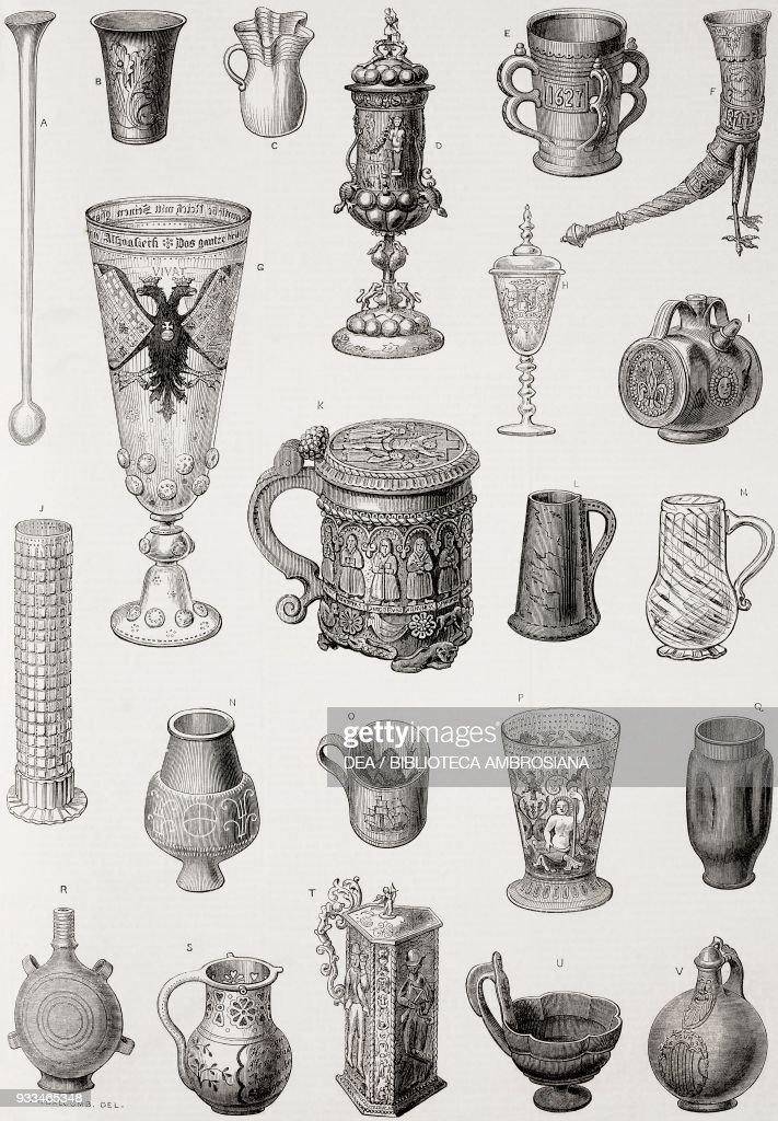 Ancient drinking vessels, Vienna World Exposition : News Photo