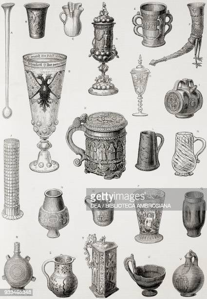 Ancient drinking vessels the Vienna World Exposition Austria illustration from the magazine The Illustrated London News volume LXIII October 25 1873
