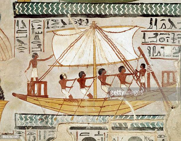 a boat on the river Sennifer's pilgrimage to Abydos the cult temple of Osiris 18th Dynasty Fresco from the tomb of Sennefer from the area of the...