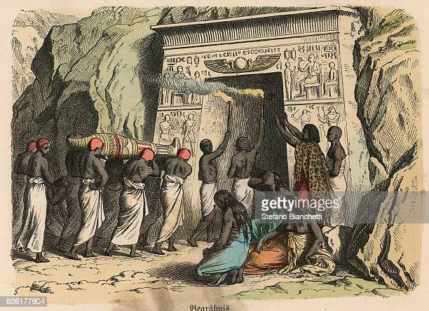 ritual funeral ceremony Coloured engraving by Heinrich Leutemann Bilder aus dem Altertume 1866