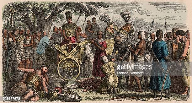 the prisoners brought before the victorious pharaoh Ramses II to have their hands cut off Coloured engraving by Heinrich Leutemann Bilder aus dem...