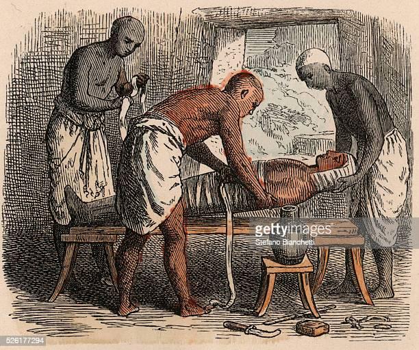 Wrapping of the Mummy Coloured engraving by Heinrich Leutemann Bilder aus dem Altertume 1866