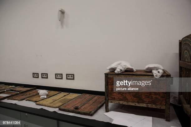 Ancient Egyptian artifacts are seen inside a conservation laboratory at the Grand Egyptian Museum in Giza Egypt 26 April 2018 Photo Gehad Hamdy/dpa