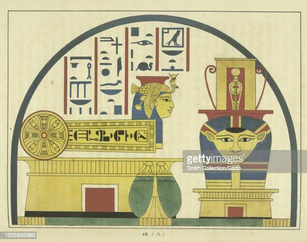 Ancient Egyptian emblem of the goddess Hathor a major goddess in Egyptian religion the mother of the sky god Horus and the sun god Ra illustration...