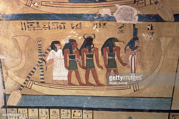Ancient Egyptian Fresco of Deities in a Boat