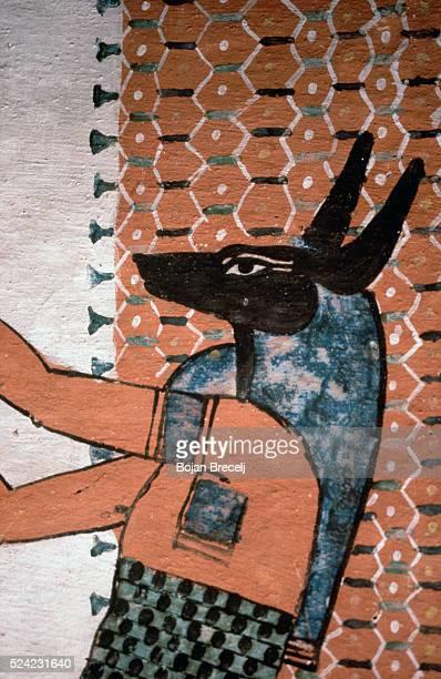 Ancient Egyptian Fresco of the God Anubis