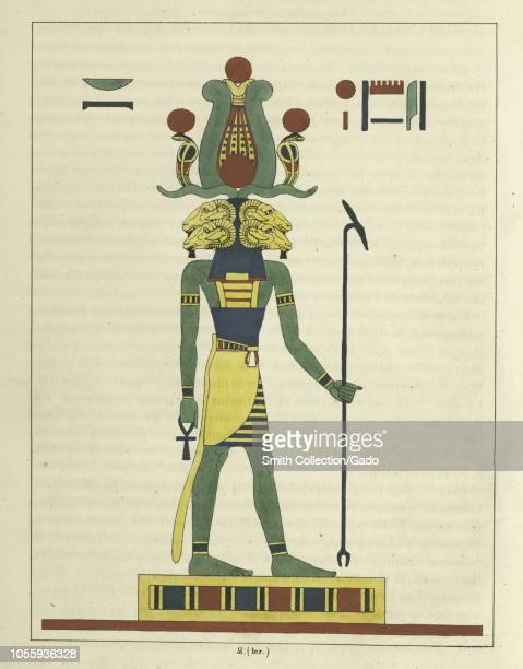 Ancient Egyptian god Amun holding the ankh and the scepter the champion of the poor and troubled illustration from the book Pantheon Egyptien by Leon...