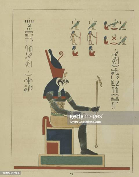 Ancient Egyptian god Horus the sky god a man with a falcon head sitting on his throne and holding the ankh and the scepter illustration from the book...