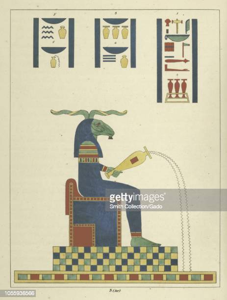 Ancient Egyptian god Khnum sitting on his throne the god of the source of the Nile River and the creator of the bodies of human children illustration...