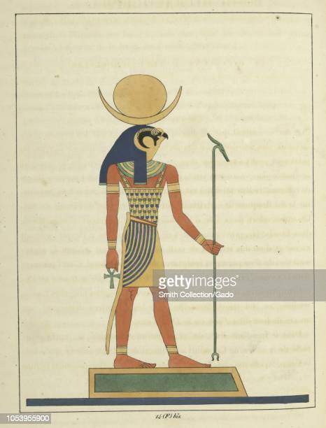Ancient Egyptian god Khonsu a man with the head of a falcon holding the ankh and the scepter god of the moon and creation of new life in all living...
