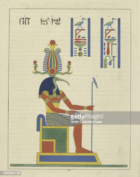 Ancient Egyptian God Thoth holding the ankh and the scepter depicted with an ibis head god of magic writing the development of science and the...