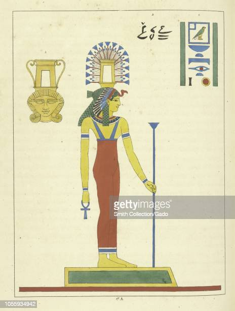 Ancient Egyptian goddess Hathor a major goddess in Egyptian religion the mother of the sky god Horus and the sun god Ra illustration from the book...