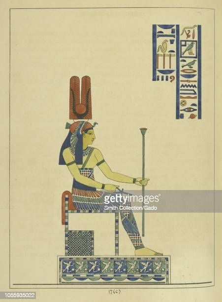 Ancient Egyptian goddess Hathor sitting on her throne and holding ankh and scepter the mother of the sky god Horus and the sun god Ra illustration...