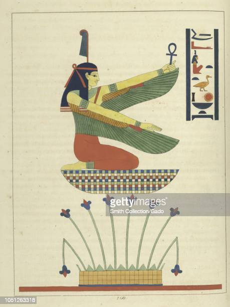 Ancient Egyptian goddess Maat ancient Egyptian concepts of truth balance order harmony law morality and justice illustration from the book Pantheon...