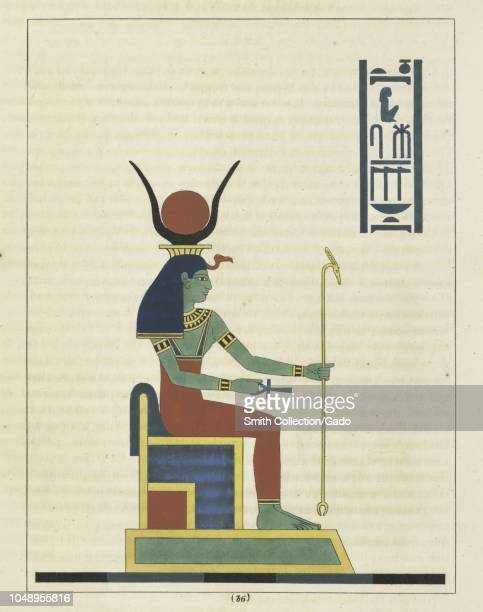 Ancient Egyptian goddess Neith holding the ankh and the wassceptre the first and the prime creator of the universe illustration from the book...
