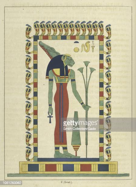 Ancient Egyptian goddess Sekhmet holding the ankh and the scepter the protector of the pharaohs and deity of healing illustration from the book...