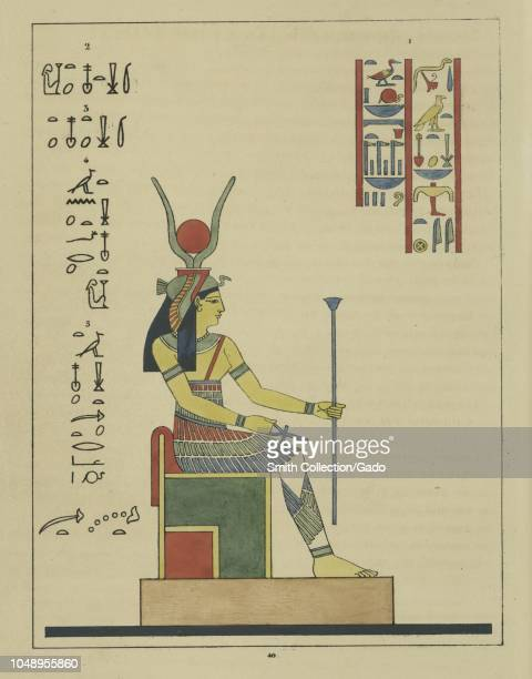 Ancient Egyptian goddess Tasenetnofret holding the ankh and the scepter a special form of Hathor and wife of Horus illustration from the book...