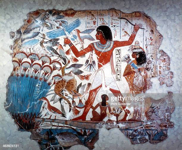 Ancient Egyptian hunting wildfowl with a throwing stick c1350 BC Wall painting from the tomb of Nebamum or Nebmum 18th Dynasty It shows a man hunting...