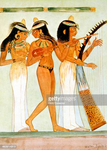 Ancient Egyptian musicians and a dancer 1910 Reproduction of a mural from the Tomb of Nakht Thebes dating from the Ancient Agyptian New Kingdom...