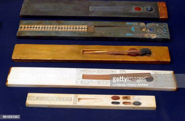 Ancient Egyptian Scribe's palettes for writing with reeds from the tomb of Tutankhamen 1323 BC New Kingdom