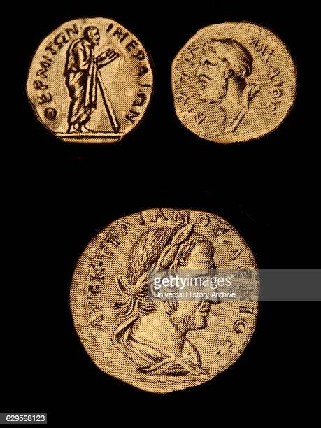 Ancient engraving of the two poets Stesichorus and Alcaeus Below is Greek philosopher Pythagoras