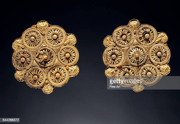 Ancient Etruscan Disk Earrings gold made in Etruria Italy c late 6th century BC 48 cm diameter J Paul Getty Museum Malibu California
