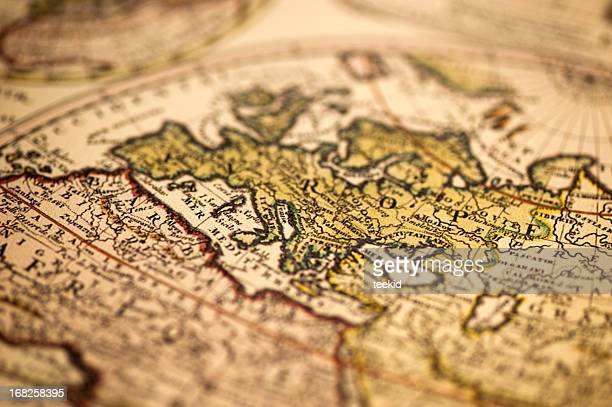ancient europe world map - vintage world map stock photos and pictures