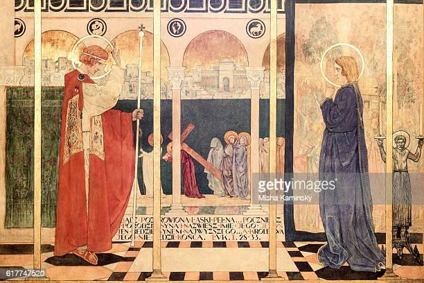 ancient fresco in the armenian cathedral of lviv - los siete pecados capitales fotografías e imágenes de stock