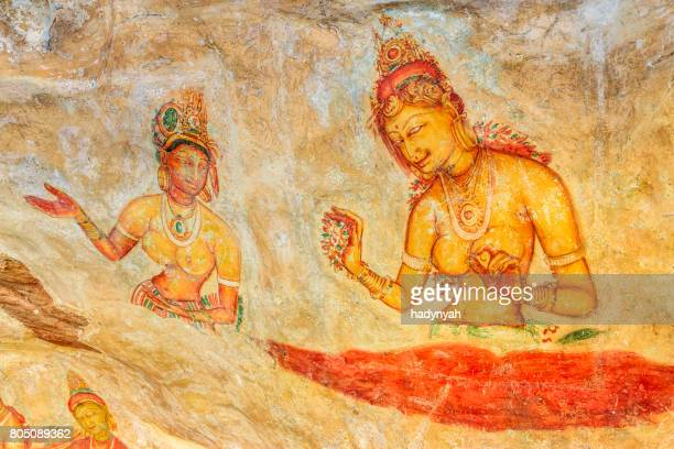 Ancient fresco in the cave temple, Sigiriya, Sri Lanka