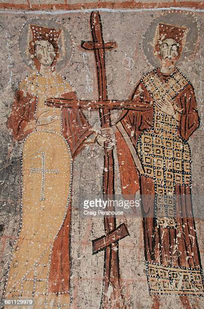 ancient fresco in yilanli kilise. - constantine i of greece stock pictures, royalty-free photos & images