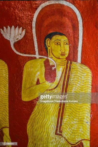 ancient frescoes on buddhism at mediliya viharaya. - imagebook stock pictures, royalty-free photos & images