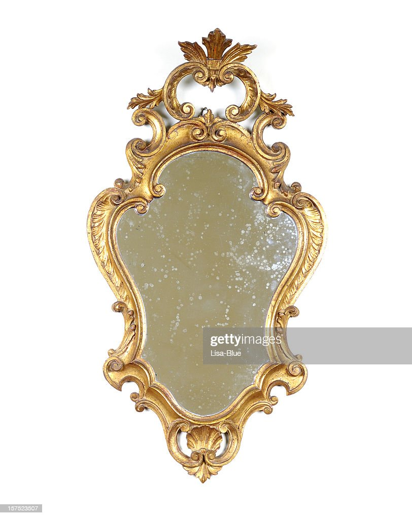 Ancient Golden Mirror Isolated : Stock Photo