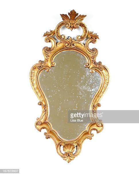 ancient golden mirror isolated - antique stock pictures, royalty-free photos & images