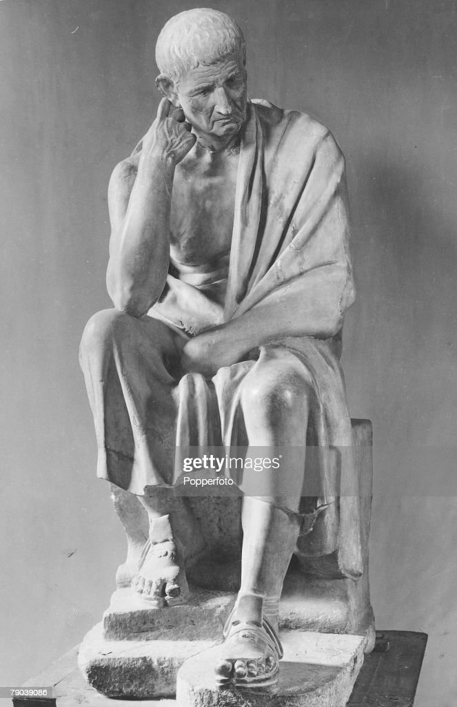 Ancient Greece. Aristotle (384-322 BC) Greek philosopher, pupil of Plato, tutor of Alexander the Great, and founder of the Peripatetic school at Athens. This statue stands in the Gallery of the Palazzo Spada in Rome. : News Photo