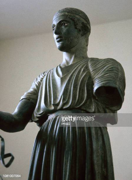 Ancient Greece. Charioteer of Delphi, detail. Cast in bronze sculpture, 470 BC. Driver of the chariot race, found at the Sanctuary of Apollo in...